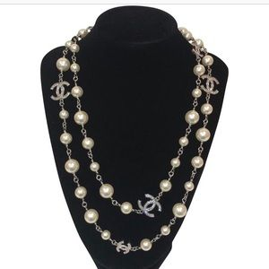 Chanel Silver, Pearl & Crystal Classic CC Necklace